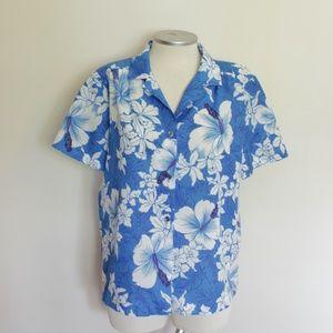 VINTAGE Hilo Hattie Blue Hawaiian Button Down sz L